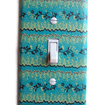 Verdigris Brass Floral Single Toggle Switch Plate, switchplate French Decor