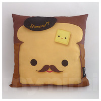 Decorative Pillow, Brown Pillow, Food Pillow, Mustache Pillow, Decorative Pillow, Cotton Pillow, Accent Pillow, Cushion, 16 x 16""