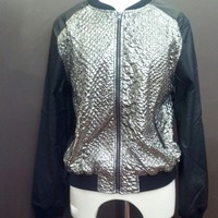metallic bomber jacket
