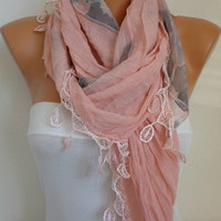ON SALE - Pink  Scarf Women Shawl Scarf -  Cowl Scarf - Bridesmaid Gift- fatwoman
