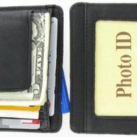 910EB Fine Leather Hand Crafted Mans Man's Mens Men's Mini Wallet ID Credit Card Holder with Magnetic Money Clip