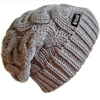 Frost Hats Winter Hat for Women GRAY Slouchy Beanie Cable Hat Knitted Winter Hat Frost Hats One Size Gray:Amazon:Clothing