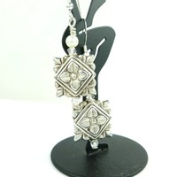 Eastern Indian Style Square Beaded Sterling Earrings