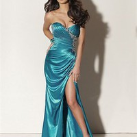 Sweetheart Column High Slit Open Back Blue With Sequins Prom Dress PD0572