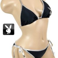 Sexy Designer Brand Playboy Bunny Black 2 pc Swimsuit