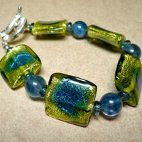 Yellow and Blue Crackle Foil Glass with Blueberry Quartz 8 in Bracelet