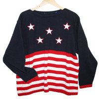 Oversized Boat Neck 4th of July Patriotic USA Flag Ugly Sweater - The Ugly Sweater Shop
