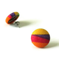 Colorful Earrings Crayon Colors Fabric Covered Buttons