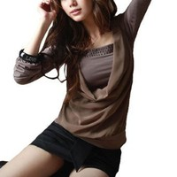 Allegra K Women Stud Decor Front Long Sleeve Fake Two Piece Shirt Coffee Color XS