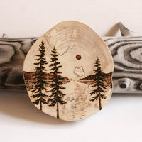 By the Lake -  Woodland Nature Art  - Original Woodburning Art on  Birch Wood Round