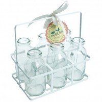 Set Of 6 Mini School Milk Bottles In Crate | DotComGiftShop
