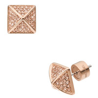 Michael Kors Pave Pyramid-Stud Earrings, Rose Golden