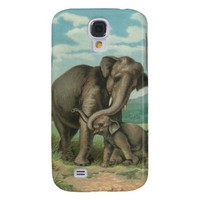Good luck elephants vintage book illustration galaxy s4 cases