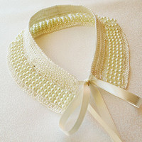 ivory pearl collar necklace-pearl lace collar (1940s-1950s)Col Claudine