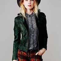 Free People Green Leather Hoodie