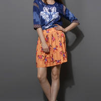 Diamond Print Top and Horse Print Skirt Set