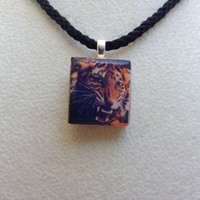 Scrabble Tile Pendant Necklace Animal Tiger