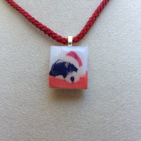 Scrabble Tile Pendant Necklace Christmas Dog