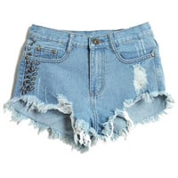 ROMWE | Riveted Distressed Broken Ligth Blue Shorts, The Latest Street Fashion