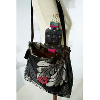 Handmade Bag Black and silver gray Floral Purse Fabric