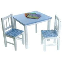 Lipper Kids Small Blue and White Table and Chair Set