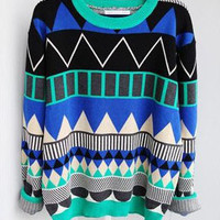 Diamond geometric pattern loose pullover L 080204 BB