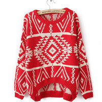 funshop — VINTAGE GEOMETRIC PATTERN KNITTED SWEATER