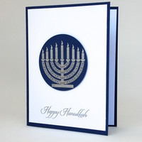 Silver Embossed Menorah Featured On Handmade Hanukkah Greeting Card