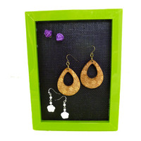 Green Jewelry Display Post Stud Earring Holder Picture Frame Bright Neon Spring Storage Organization