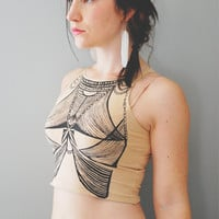 Basya  Creme and Black Sleeveless Crop Top  By Bark by barkdecor