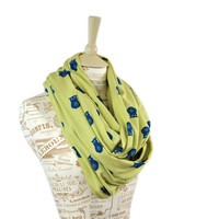 Owl Infinity Scarf Jersey Dark Blue Yellow Green Bird