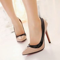 HOT Womens High Heels Pointed Toe Stilettos Pump Shoes Simple Color Blocking 1nT