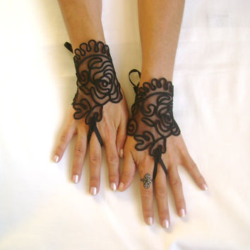 Black rose goth gothic black lace gloves from glovesbyjana on for Lace glove tattoo