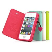Lovely Candy Color Case Imitated Leather Phone Shell for iPhone 4/4s (rose red)