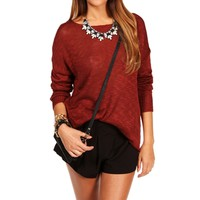 Burgundy Dolman Sweater