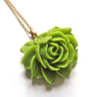 Lime Green Resin Rose 22K Gold Extra Long Layering by SovereignSea