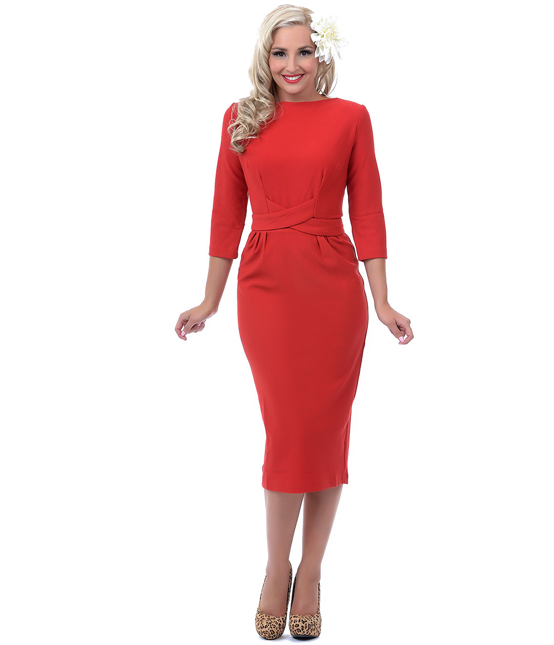 Red Three-Quarter Sleeve Vickie Wiggle From Unique Vintage
