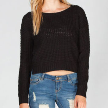 Full Tilt Womens Crop Sweater Black  In Sizes