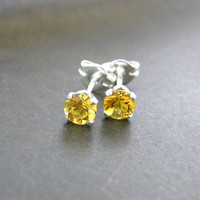 Citrine Stud Earrings November Birthstone Gemstone Post Earrings Sterling Silver Dainty Petite Stud Earrings 4mm Fashion Jewelry