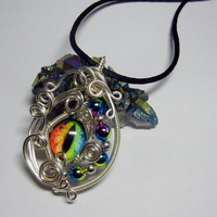 Taxidermy Glass Eye Pendant - Silver Wire Wrap Rainbow Dragon Glass Eyeball Jewelry