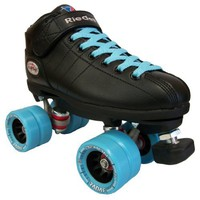 Riedell R3 Black Boots with Light Ice Blue Demon Wheels and Light Blue Laces Mens Boys Ladies Womens Girls Kids Childrens Youth Quad Speed Roller Derby Skates