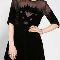 Urban Outfitters - TBA Velvet Bat Chiffon-Inset Dress