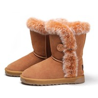 Ladies Fashion Fur Trimmed Flat Mid Calf Boots