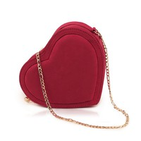 Red Heart Shaped Handbag Bridal Clutch Wedding Purse
