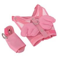 Adjustable Angel Wing Net Pet Dog Cat Safety Mesh Harness Leash With Lead Leash S Small Size Pink