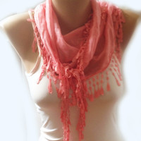 ON SALE, Pink Scarf, Cowl Scarf, Womens Fashion, Very Soft Cotton Lace Scarf, Bridesmaids Gift Scarf Accessories
