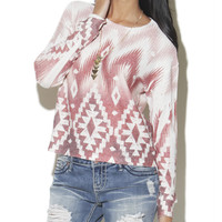 Long Sleeve Tribal Top  | Shop Tops at Wet Seal