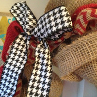 Burlap chevron houndstooth crimson wreath