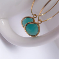 Turquoise And 16k Gold Plated Tropical Shores Hoop And Dangle Earrings - Bezel Framed Glass