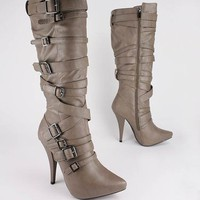strappy buckled pointed toe boot $45.70 in TAUPE - Boots | GoJane.com